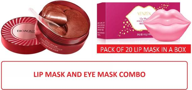 BIOAQUA lip hydrogel mask 20 patches box with under eye dark circle treatment mask (30pairs/60patches)