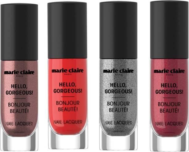 Marie Claire Paris Hello, Gorgeous! Nail Lacquer Eternelle Silver, Metallique Copper, Rosy Glitterati, Red Rendezvous