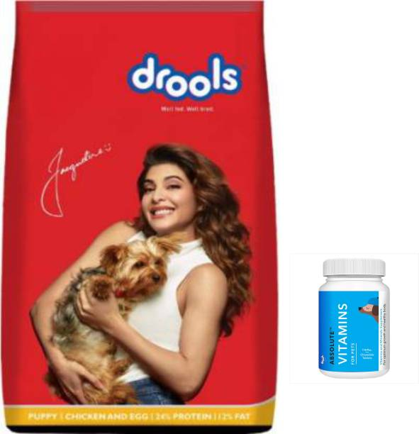 drools Drools Chicken and Egg Puppy Dog Food, 3 KG Chicken 1 kg (2x0.5 kg) Dry Young Dog Food