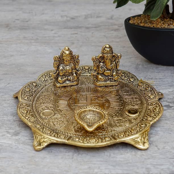 StatueStudio Pooja Thali Laxmi Ganesha Statue with Diya Bhog Thali Traditional Swastik Brass Thali For Pooja Mandir, Office Temple, Shop and More Iron