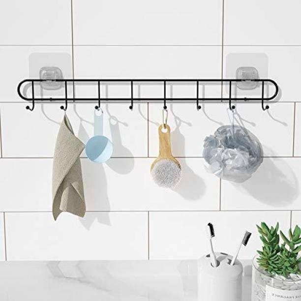 QBK Bathroom Wall Hook 10 Hooks Stainless Steel Magic Sticker Self Adhesive for Bathroom Towel Rail Utensil Rack Kitchen Hanger Hooks Weight Load Capacity up to 5 kg Stainless Steel Wall Shelf