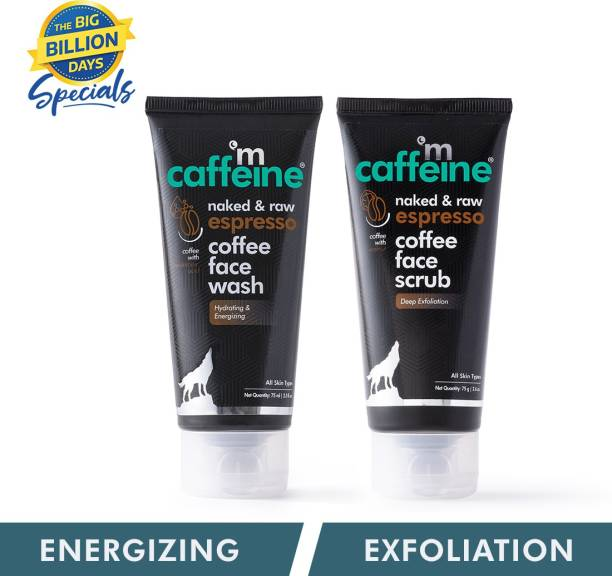 MCaffeine Exfoliating Face Wash & Face Scrub Combo with Hyaluronic Acid, Pro-Vitamin B5 | Sulphate & Paraben Free| For Men & Women | 150 ml Scrub