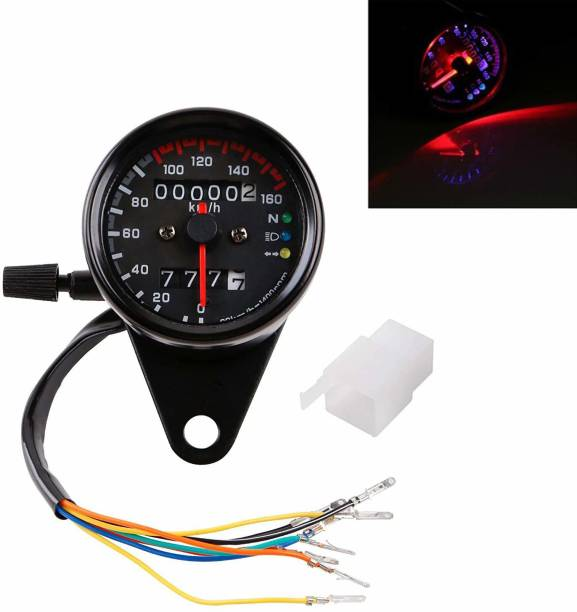 Vagary Universal Motorcycle Dual Odometer Speedometer Gauge LED Background Light Analog Speedometer