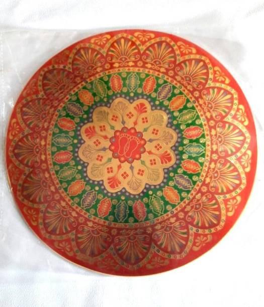 ONRR Collections Medium Round Golden Metallic Rangoli Sticker