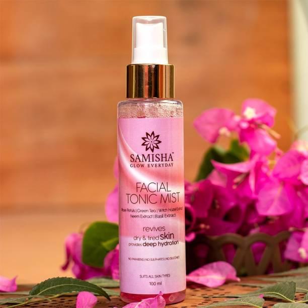 Samisha Organic Facial Tonic Mist For Minimizing Pores, Moisturized, Healthy & Glowing Skin - 100 ML Men & Women