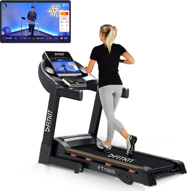 FITKIT FT100S (3.25HP Peak Power)Manual Inclination,lubrication with Free Diet Plan,Trainer & Installation Services Treadmill