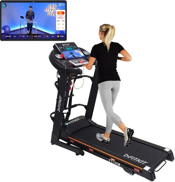 FITKIT FT100M (3.25HP Peak Power)Multifunction,Manual Inclination with Free Diet Plan,Trainer & Installation Services Treadmill