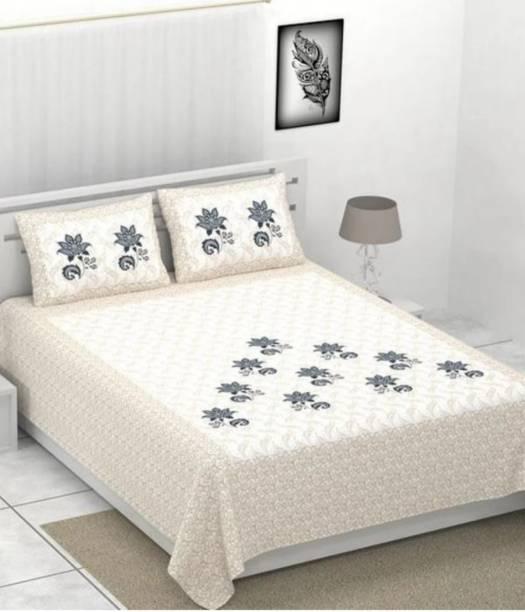 KAANY FAB 104 TC Cotton Double Jaipuri Prints Bedsheet