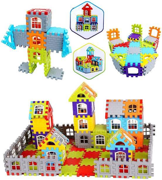 RAJJA Building Blocks for Kids – 72 Pcs, Building Blocks with Windows, Extra Jumbo Pack Building Block Game for Kids