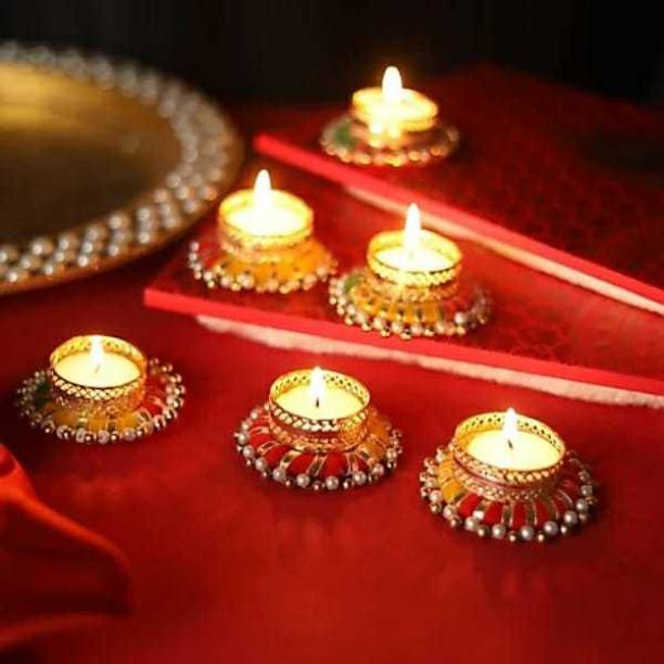 RHYTHM GIFT4U Tea Light Candle with wax Candle/Diya, Pack 6of - For Decoration and Gifting Candle , Handicraft Candle Stand for Bedroom Dinning Area Event Decoration Diwali Gifts Navratri Dussehra with Tealights, Diwali Candel Candle