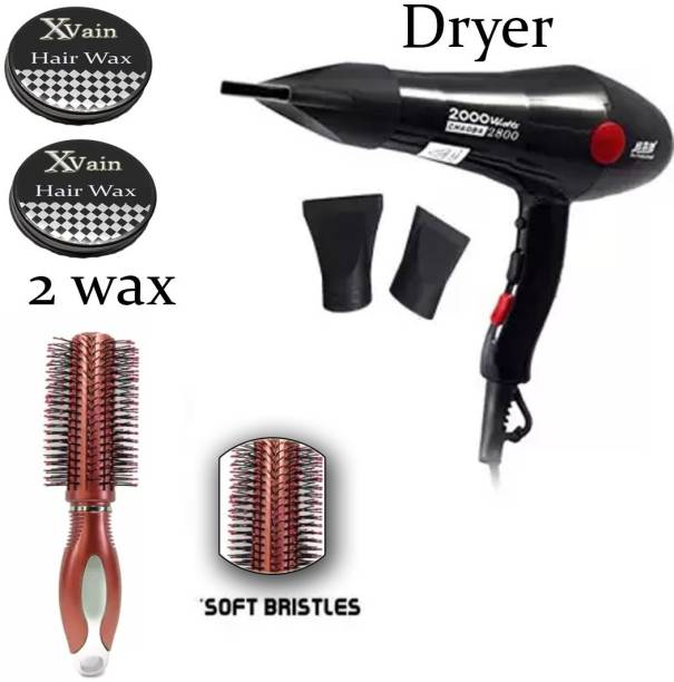 XVAIN PROFESSIONAL HAIR DRYER WITH RED HAIR COMB AND 2 HAIR WAX (PACK OF 4)
