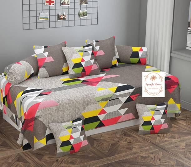 Spangle Homes Cotton Geometric Diwan Set