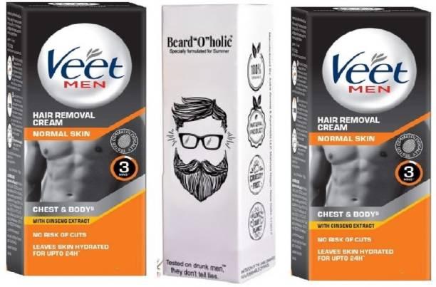 Veet Men Hair Removal Cream - Normal Skin 2x25gm | Hair Oil -30 Ml Cream