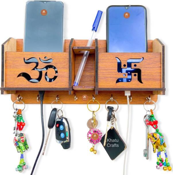 Khatu Crafts OM Swastik Mobile Holder & Wood Key Holder