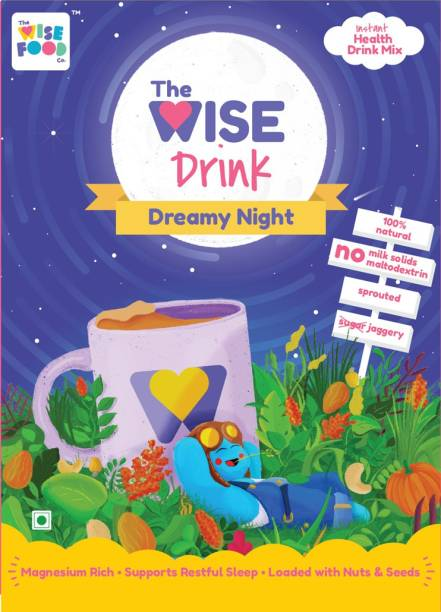 The Wise Food Co Dreamy Night   Health Drink Mix for restful sleep   Ragi with Power of Almonds and Cashews   Rich in Magnesium   Suitable for Kids and Adults   No Milk Solids   No Chemicals   No Refined Sugar