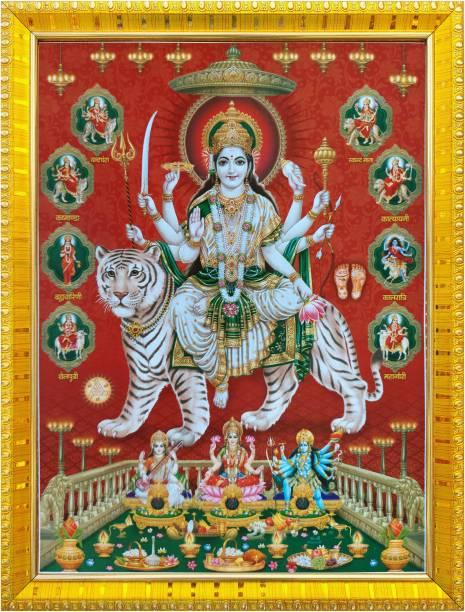 koshtak Durga maa/vaishno Devi/nav Durga on Tiger with laxmi, Kali, Saraswati MATA Religious Frame