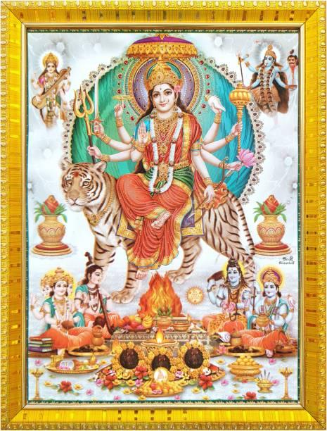 koshtak Durga maa with Brahma Vishnu Shiva and maa Kali & Saraswati Religious Frame