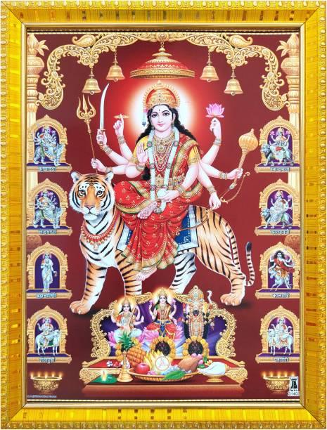 koshtak Durga maa/vaishno Devi/nav Durga on Tiger maa Kali, Saraswati & laxmi Religious Frame
