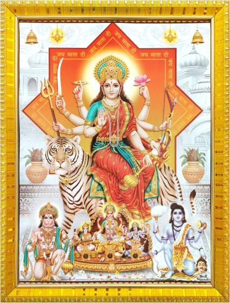 koshtak Durga maa/sherawali with Hanuman bhairavnath ji and maa Kali, Saraswati & laxmi Religious Frame