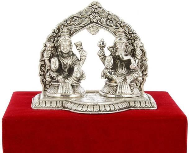 INTERNATIONAL GIFT Silver Plated Laxmi Ganesh Statue Hindu God Idol Showpiece I Handicraft I Home Decor I Gift Item | Religious Idol Religious Tile