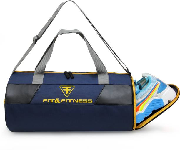 FIT & FITNESS Gym Duffel Bag -Navy Blue & Yellow with Separate Shoe Compartment Sports Duffel
