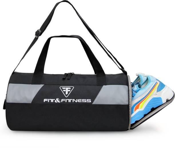 FIT & FITNESS Gym Duffel Bag - Grey & Black with Separate Shoe Compartment Sports Duffel