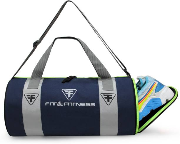 FIT & FITNESS Gym Duffel Bag - Grey & Blue Men & Women Navy Sports Duffel