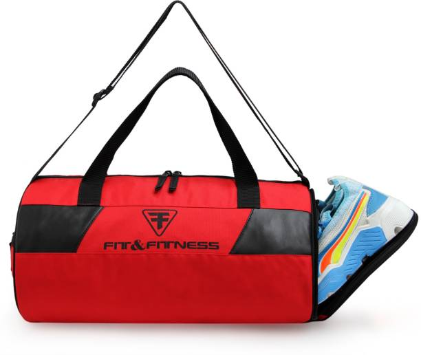 FIT & FITNESS Gym Duffel Bag -Red & Black with Separate Shoe Compartment Sports Duffel