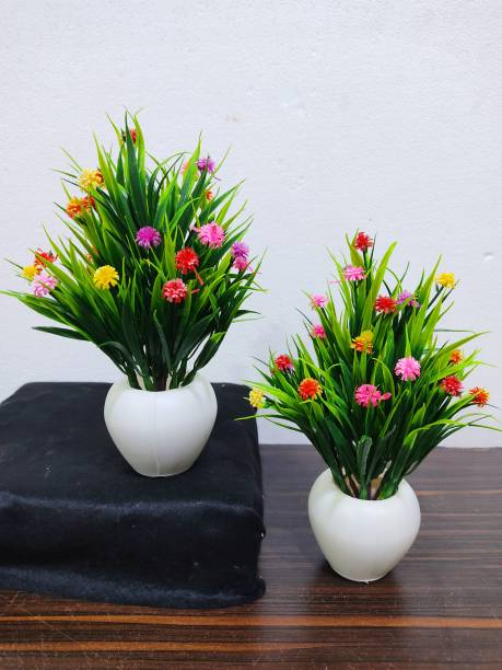 SAF VERY SMALL SET OF 2 MULTY FLOWERS PLANT WITH POT Bonsai Wild Artificial Plant  with Pot