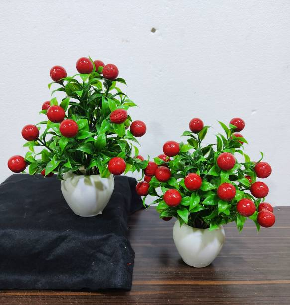 SAF SET OF 2 CHERRY PLANT WITH APPLE DESIGN POT FOR TABLE TOP , OFFICE AND GIFT PURPOSE ( 23 CM , RED ) Artificial Plant  with Pot