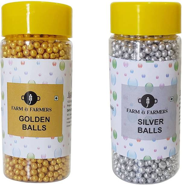 FARMS & FARMERS Silver and Golden Medium Size Balls for Cake Decoration (80 GM Each) Sprinkles