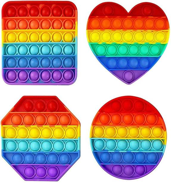 ILASARIYA Pop up It Push on Buble Fidget Sensory Toy Set, Push on Pop Silicone Game Toy Anxiety Stress Reliever Autism Learning Materials for Kids Teens Adults (Rainbow) (4PACK)