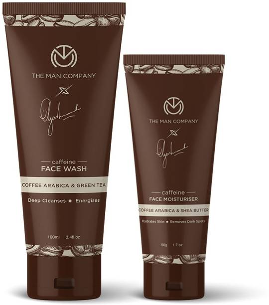 THE MAN COMPANY Coffee Face Care Kit with Face Wash & Moisturiser   Cleanses, Detoxifies, Relaxes, Glowing and Brightening Skin - Pack of 2