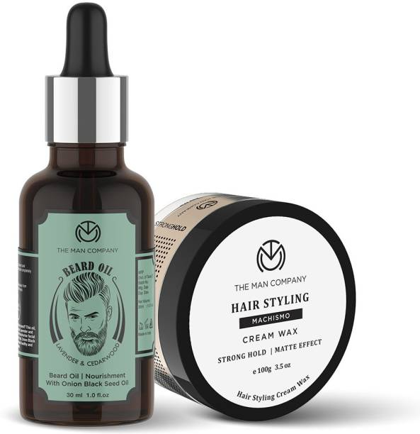 THE MAN COMPANY Beard & Hair Care Combo Set For Men with Lavender Beard Growth Oil & Machismo Strong Hold Hair Wax   Faster Growing Beard   100% Natural Oil   Deep Nourishment   Softens Beard   Strong Hold