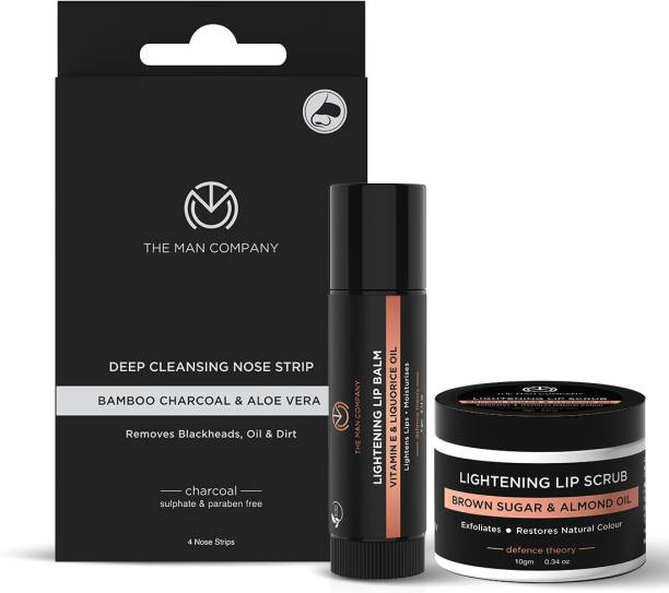 THE MAN COMPANY Glow Facial Kit for Men with Lip Lightening Balm, Lip Scrub, Nose Strip, Charcoal Sheet Mask | Blackheads Remover | All Skin Types