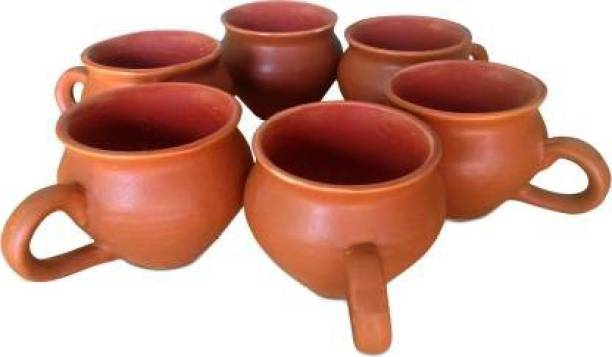 UD WORLD Pack of 6 Ceramic Pack of 6 Ceramic, Brown Kullhad with Handle