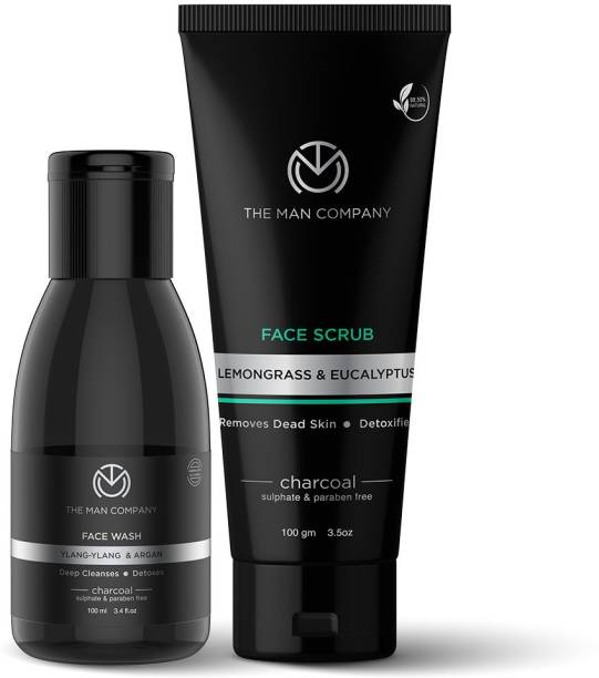 THE MAN COMPANY De Tan Face Duo for Men with Activated Charcoal Peel Face Scrub, Face Wash   Anti Pollution, Acne Oil Control   Deep Cleansing   Blackheads Remover