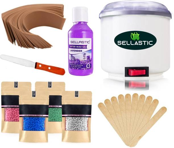 sellastic Hard Wax Warmer, Heater with Hair Removal Wax Beans(100 Grams) and After Wax Gel(50 ml) and Wooden Chips for Hard, Strip and Paraffin Waxing Kit for Women - Color May Vary, 1 Set Wax