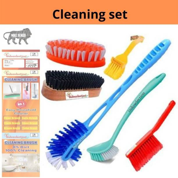 Indoselection brush combo two sided toilet cleaner washing cloth shoe brush set Toilet Brush