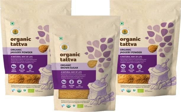 Organic Tattva Organic Sweetner Combo (Jaggery Powder and Brown Sugar) Pack - 2 KG | 100% Vegan, Gluten Free and NO Additives | Unrefined, Unprocessed and Unadulterated Powder + Block Jaggery