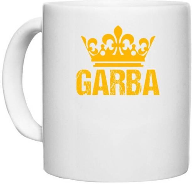 UDNAG White Ceramic Coffee / Tea 'Gujju   Garba' Perfect for Gifting [330ml] Ceramic Coffee Mug