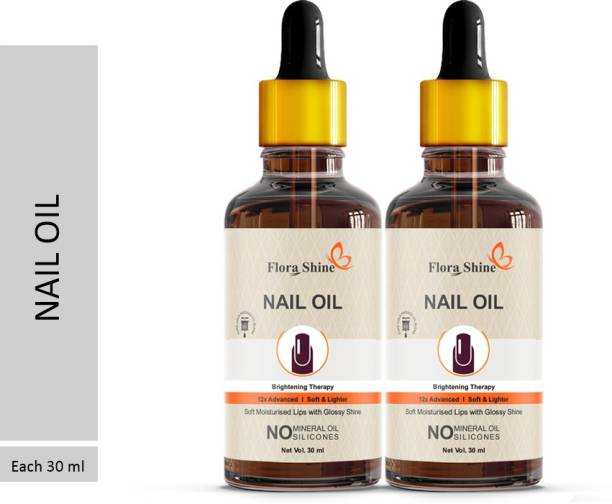 flora shine 100% Pure Nail Strong Oil For Cuticle Care, Nail Growth & Strength 30 ML Pack of 2 Bottle 60ml (60 ml) Yellow