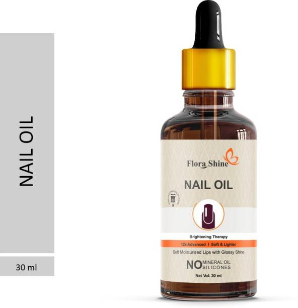 flora shine 100% Natural Nails Strong Oil For Cuticle Care, Nail Growth & Strength YELLOW Pack of 1 (30ml) Yellow