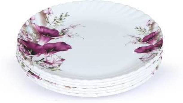 Golden Fish Marry-Gold Melamine Round Small Plates|Starter Plates (Pack of 6, 7 Inches, Floral Print Quarter Plate