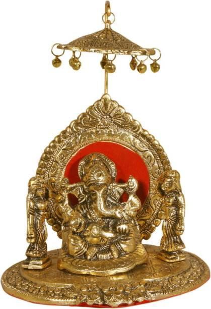 INTERNATIONAL GIFT Gold Ganesh With Chattar God Idols Religious Tile