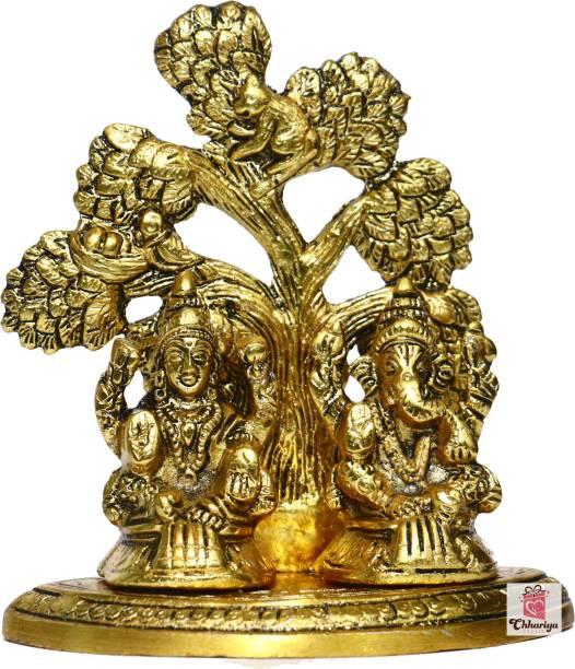 Chhariya Crafts Metal Laxmi Ganesh Sitting Under Tree Decorative Showpiece  -  14 cm