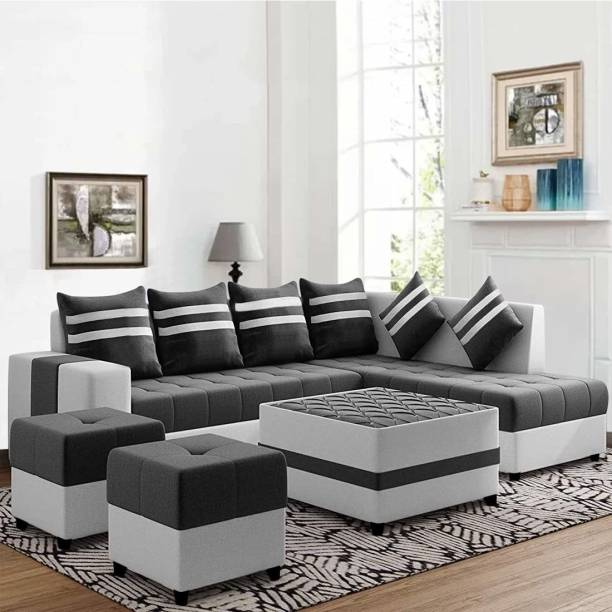 CasaStyle Stylio 8 Seater Fabric RHS L Shape Sofa Set with Centre Table & 2 Puffy (Dark Grey-Light Grey) Fabric 8 Seater  Sofa