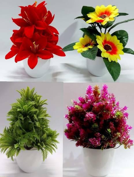Dekorly Sunflower, Daisy, Maroon Wild Plant, Green Wild Plant Bonsai Wild Artificial Plant  with Pot