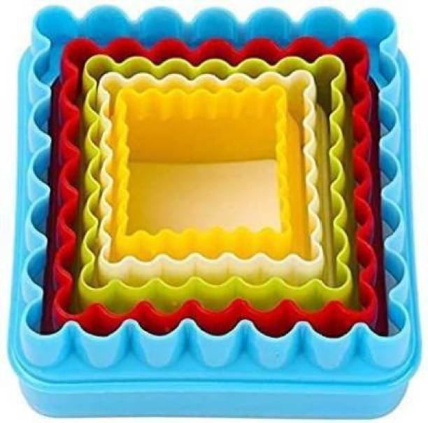 swarupachal Plastic Square Cookie Cutter Cupcake Cookie Cutter Cake Mold Biscuit Fondant DIY Cake - Set of 5 Cookie Cutter