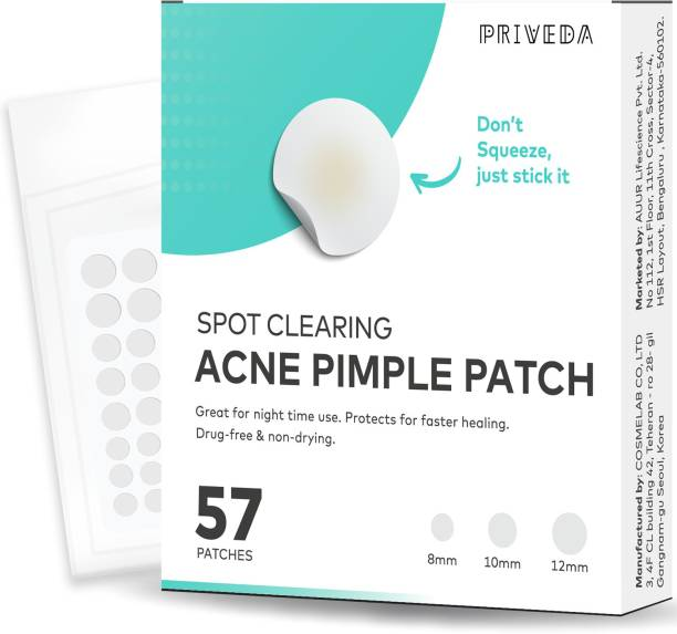 Priveda Spot Clearing Acne pimple patch - Invisible Facial Stickers cover with 100% Hydrocolloid (57 patches)